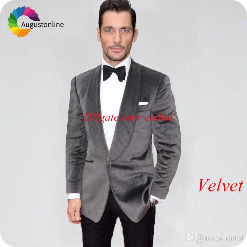 f6bf782c6 Tailor Made Green Velvet Men Suits For Wedding Slim Fit Groom Tuxedos  Smoking Jacket Groomsmen Suit Male Blazers Prom Costume Party Mens Tuxedo  Shirt ...