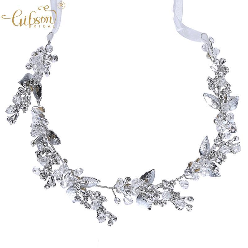 Wedding Hair Ornament Headband Crown Crystal Leaf Vintage Style Hair Vine For Bun Style Women Headpiece Tiara