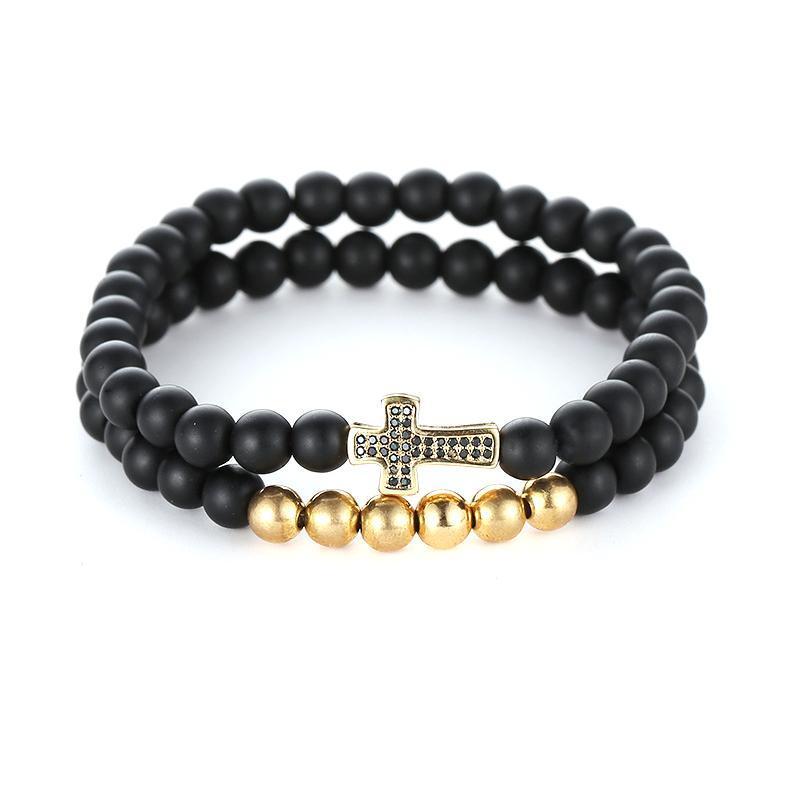 2pcs / set pierre naturelle perles noires 6mm Bracelets charms femmes Micro Pave CZ Cross Bracelet bijoux hommes