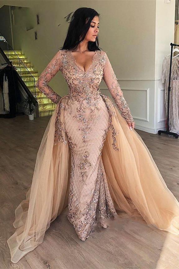Árabe Champagne lentejuelas de la sirena de los vestidos de noche con falda desmontable con cuello en V de Dubai formal de las mujeres vestidos de baile mangas largas robe de soiree