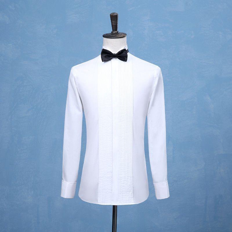 2019 الموضة الجديدة العريس البدلات الرسمية القمصان رئيس خدم يرتدي بذلة قميص أبيض أسود أحمر الرجال زفاف قمصان مناسبة رسمية للرجال اللباس قمصان عالية الجودة