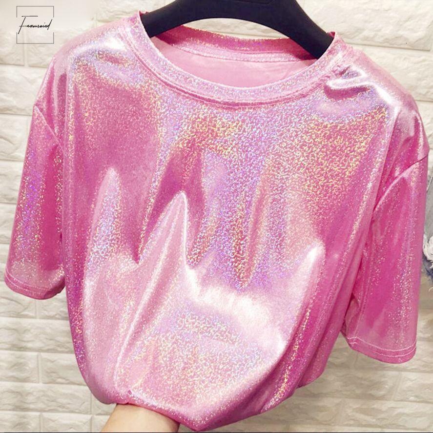 Camiseta New Style Silk Elegante Luminoso Mulher Tops brilhante solto camiseta manga curta Sexy Clube Estética Harajuku Mulheres