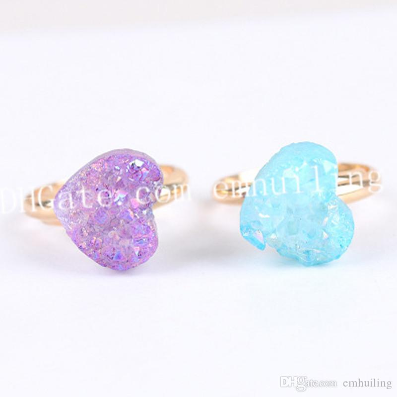 10Pcs Mixed Random Color Druzy Stone Rings Mini Heart Shape Titanium Coated AB Color Drusy Agate Geode Adjustable Ring Gold/Silver Plated