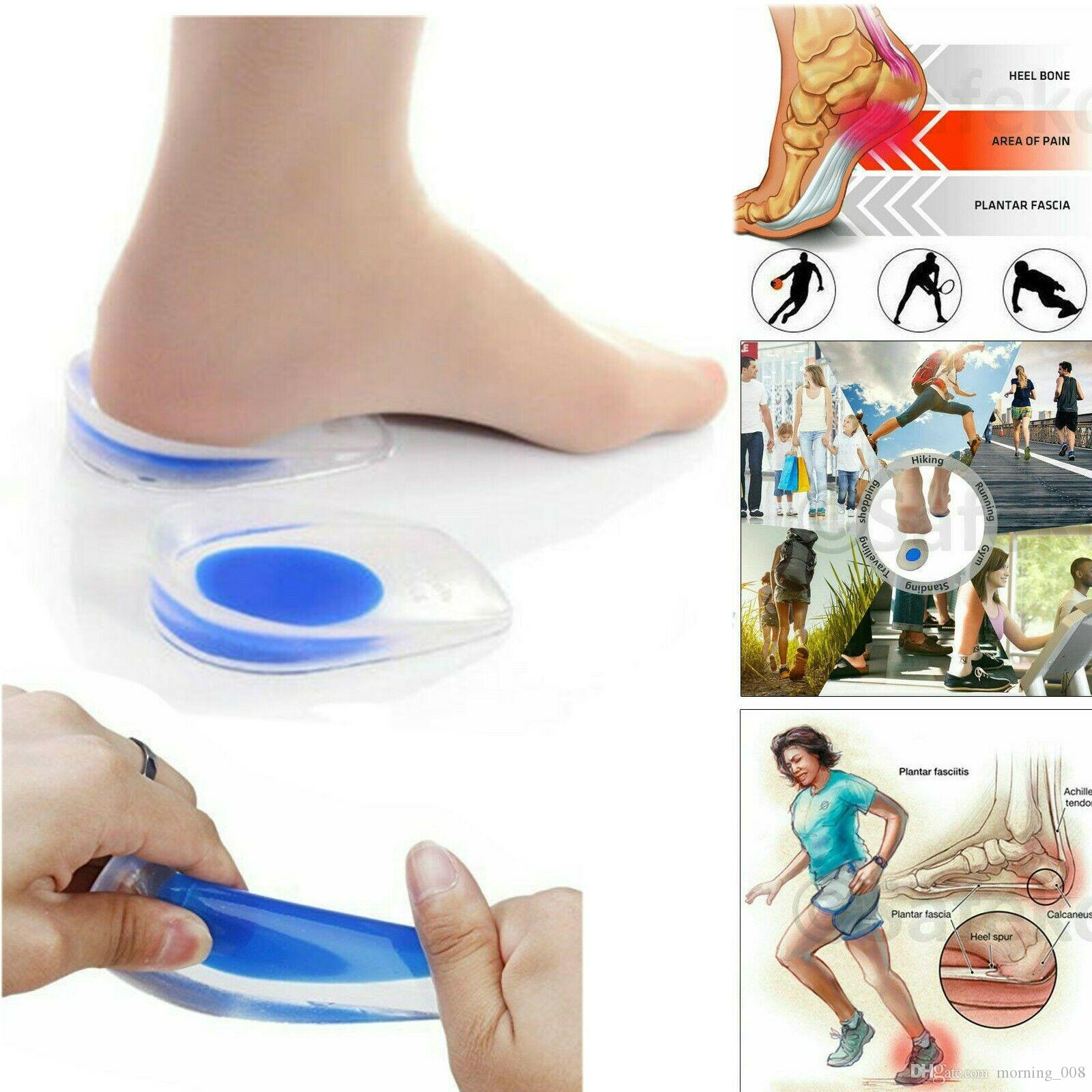 2 Pairs Gel Soft Silicone Pain Relief Increase Heel Support Orthotic Insole Plantar Care Foot Inserts Shock Cushion Pads Cup Half-height