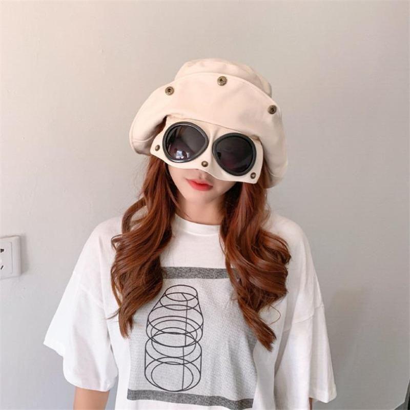 óculos vermelhos líquidos chapéu pescador primavera feminino chapéu protetor solar grande verão coreana ao longo do selvagem japonês chapéu de sol por atacado maré