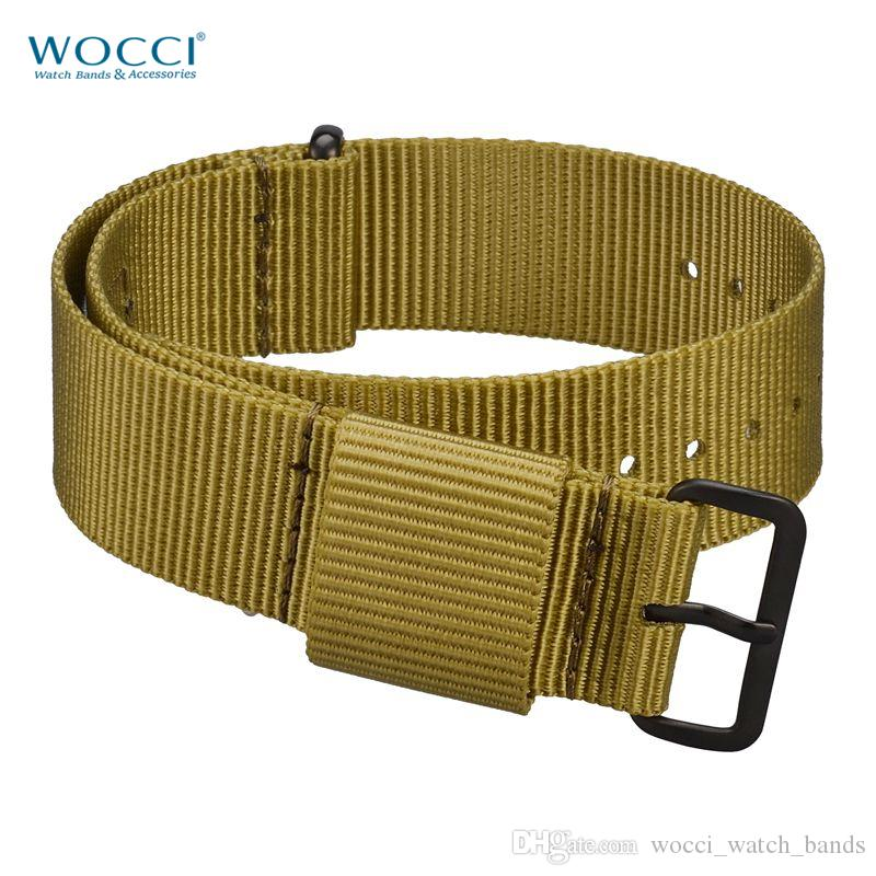 WOCCI Olive Nato Watch Band 18mm 20mm 22mm 24mm Solid Color Nylon Straps Fitted Large Wrist