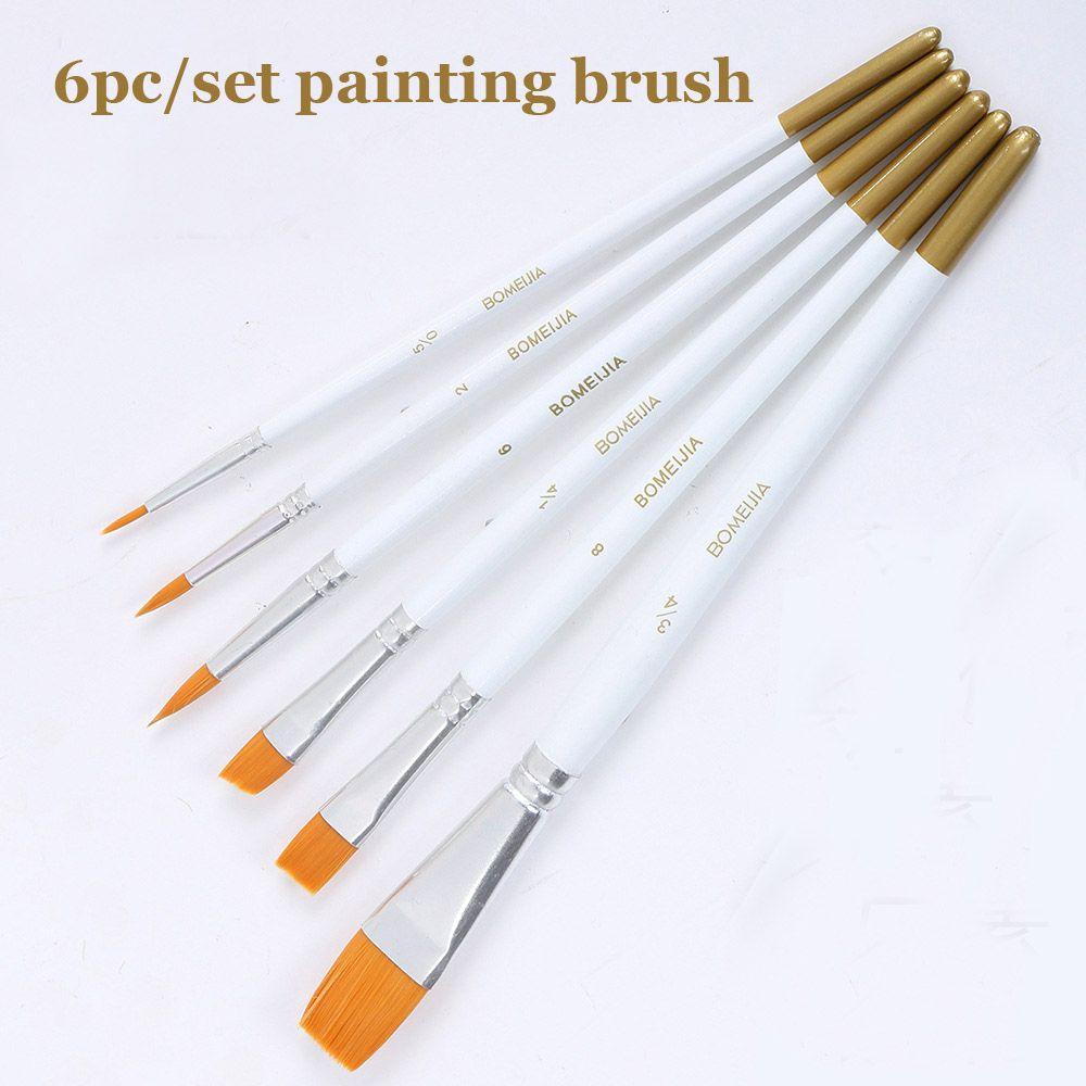 6pcs//set Paint Brush Nylon Hair Watercolor Acrylic Oil Drawing Painting Artist