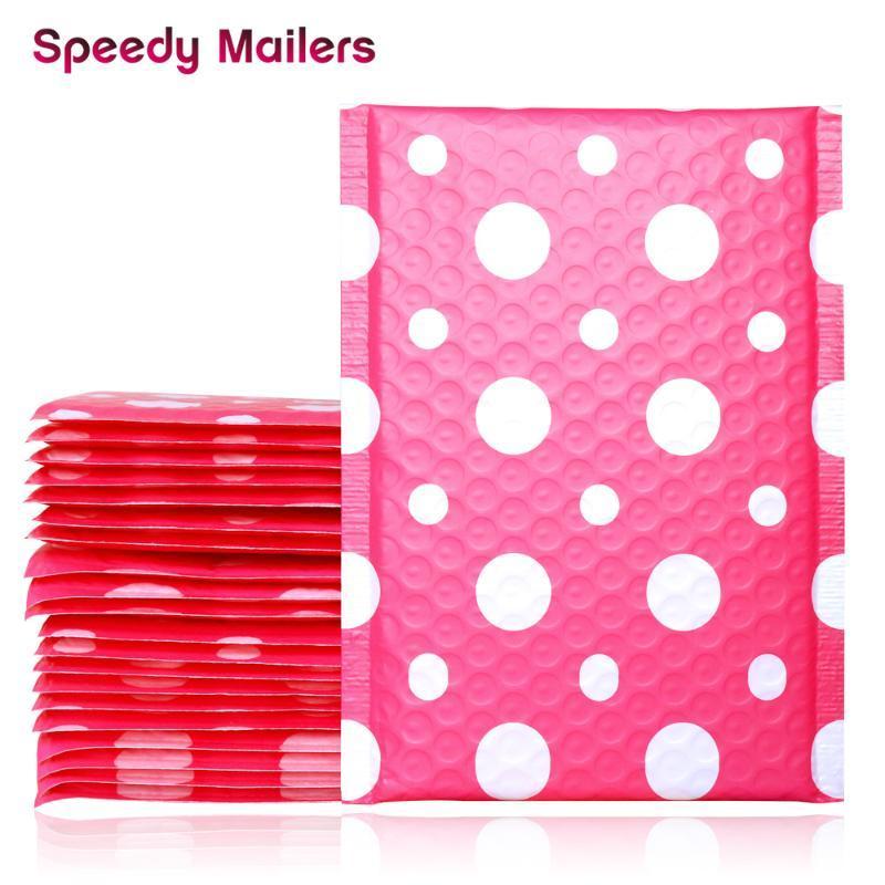 5PCS 150x200 + 40mm 핑크 땡땡이 무늬 폴리 거품 우편물, 자기 씰링 패딩 우편 봉투, 선물 포장을위한 폴카 도트 디자인