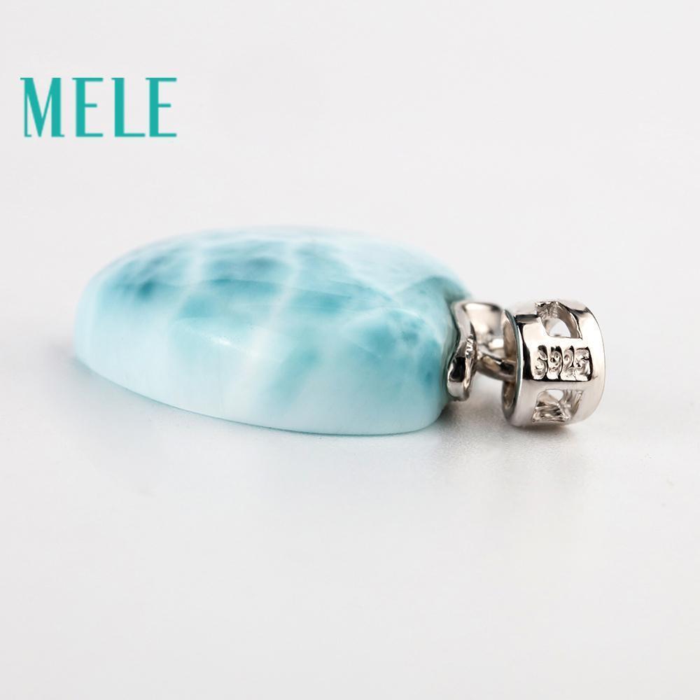 15mm Kalp Şekli Romantik Mele Doğal Mavi Larimar Som 925 gümüş kolye İçin Kadınlar Ve Adam, Ve Basit Stil Güzel Takı J190613