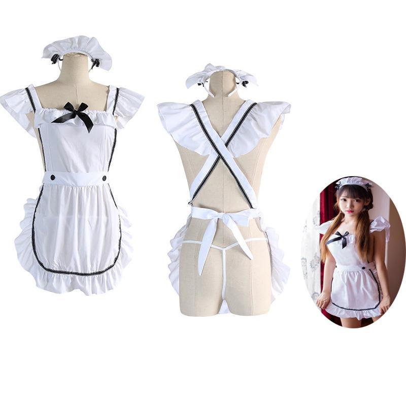Lolita Kızlar Seksi Hizmetçi Elbise kulu Japon İç Kadın Intimates pijamalar pijama 3adet Beyaz kıyafeti hizmetçi hizmetçi