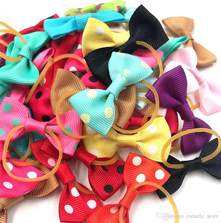 cabeça de cão pet corda 20-color europeus e americanos dot cor sólida borracha arco pequeno acessórios para o cabelo banda jóias cocar