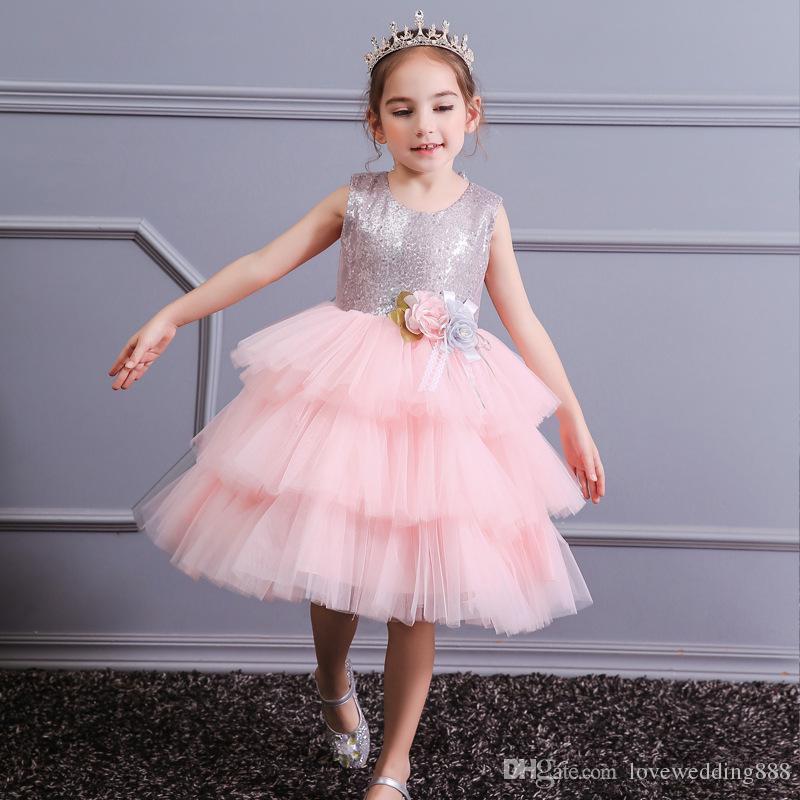 Vestidos das meninas do bebê lindo para casamentos Tiered Tulle curto vestidos de festa de aniversário com arcos Backless princesa pageant vestido