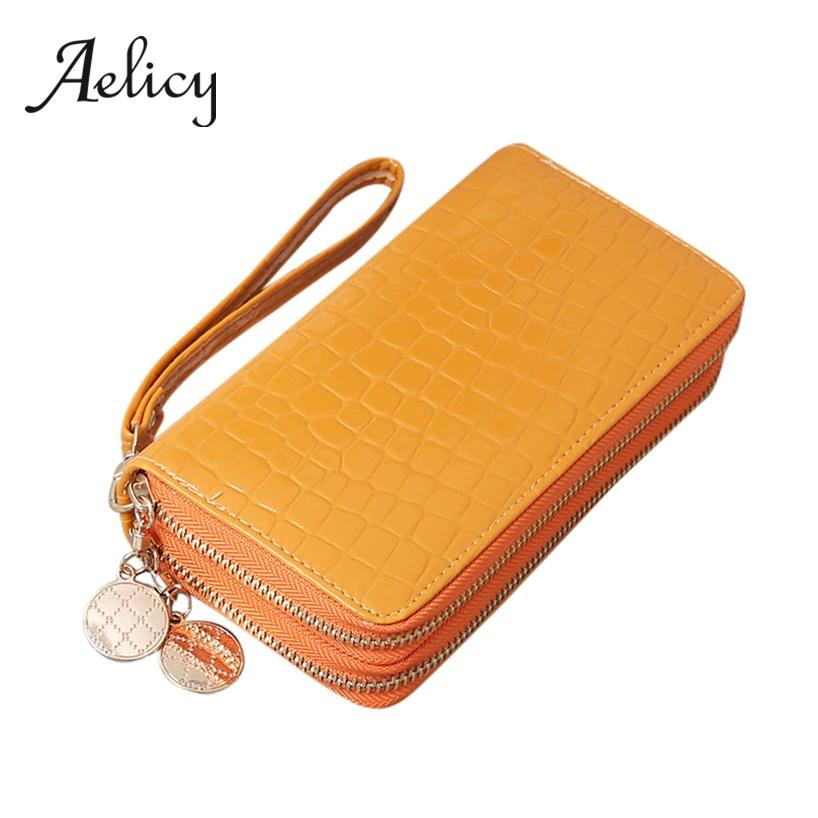Aelicy long purse Stone pattern pu leather women small clutch Double Pull zipper Wallet wrist strap Coin money Bag phone handbag