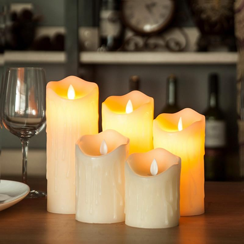3pcs /Lot Flickering Led Candle Velas Flameless Pillar Candle For Home Holiday Ivory Dripping Color Birthday Christmas Weddings
