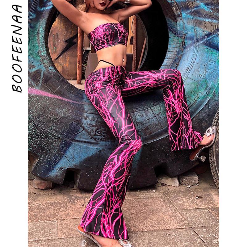 BOOFEENAA calle de la moda de neón rosa impreso atractivo de 2 piezas Conjunto de recorte Mujeres top Pantalones acampanados conjuntos del club atractivo Trajes C70-AA84 T200702 juego