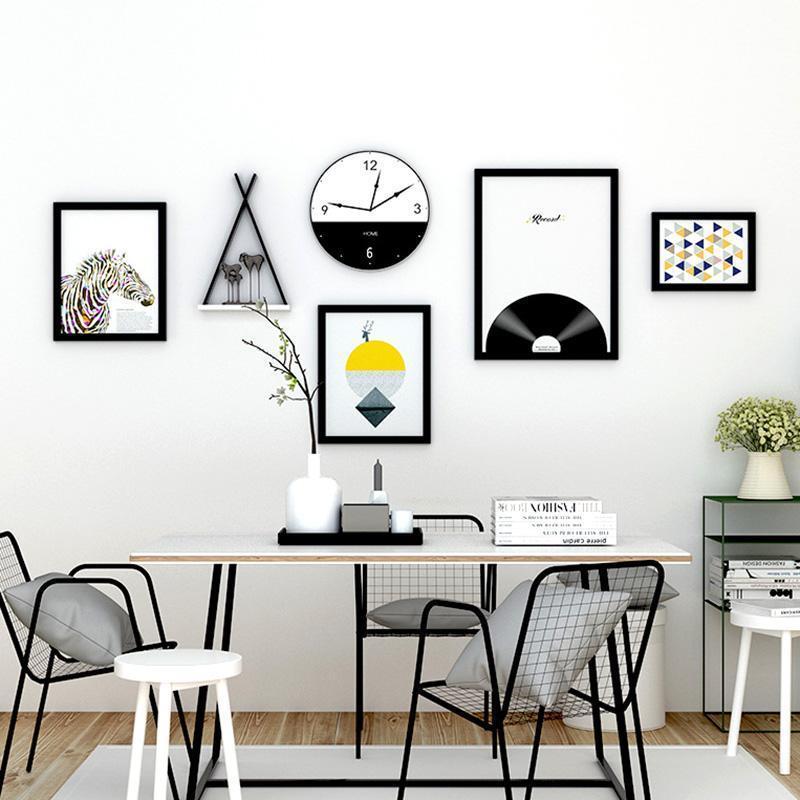الطراز الأوروبي الرئيسية إطارات الصور زفاف الجدار الديكور كبير خشبي مجموعة إطار الصورة مع عقارب الساعة اللوحة الحديثة غرفة المعيشة