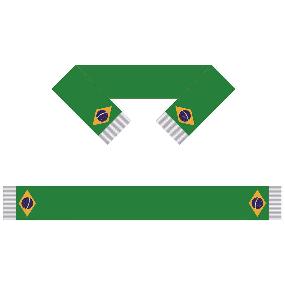 Brasil Scarf Bandeira 15 * 150CM 100% poliéster, bandeira Scarf Mundial