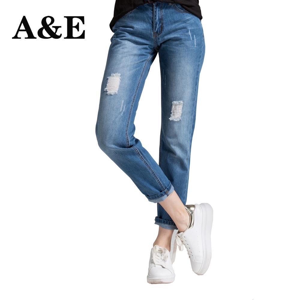 Fidanzato Alice Elmer Boyfriend For Women Fori a metà vita Jeans Denim Pantaloni donna C19041801