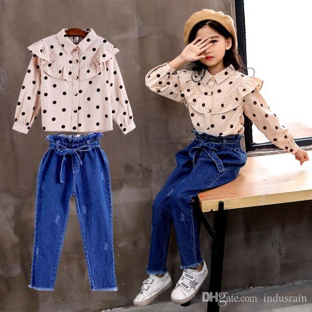 2019 Spring Autumn Teenage Girls Clothing Set Dot Top Jeans Suit Casual Suit for Girl Tracksuit Children Clothing 8 10 12 Years