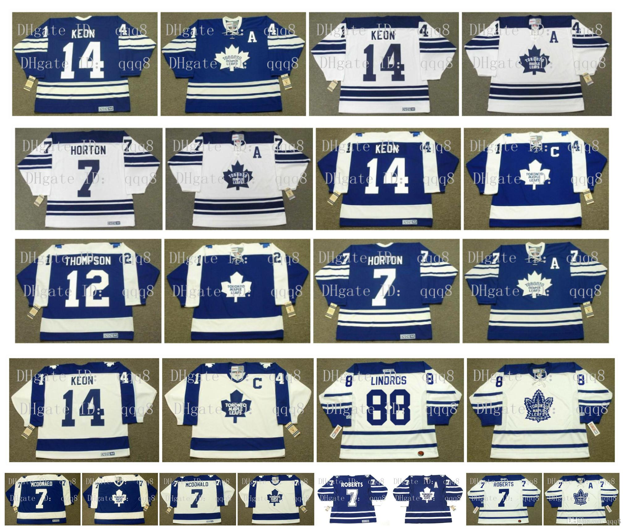 Vintage Toronto Maple Leafs Jersey 12 ERROL THOMPSON 7 TIM HORTON 14 DAVE KEON 88 ERIC LINDROS 7 LANNY MCDONALD 7 GARY ROBERTS CCM Hockey