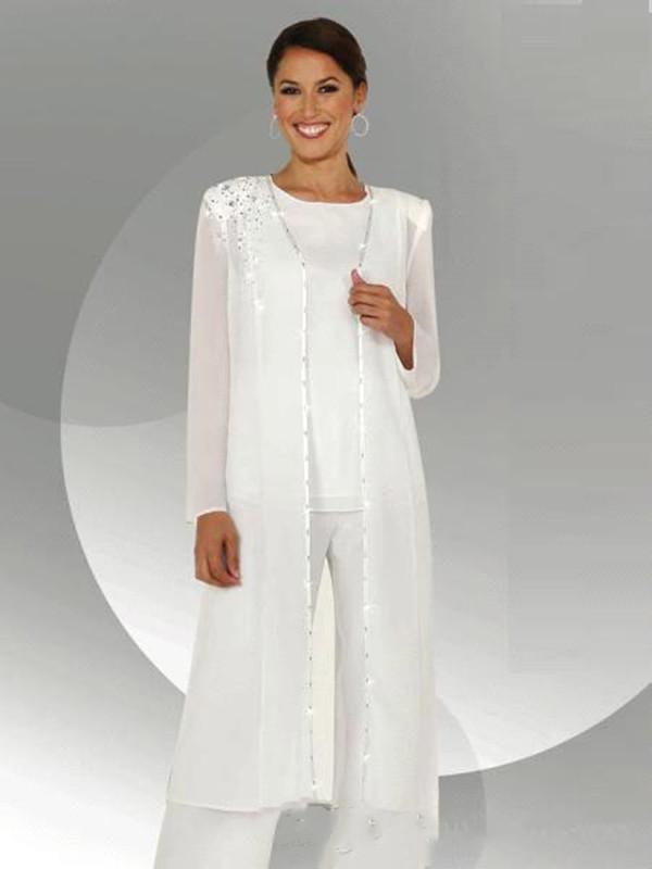 Chiffon bianco a maniche lunghe madre degli abiti sposa Pantalone con camicetta lunga Paillettes rilievo Tre Pezzi Madre di Groom Suit Pant BA3961