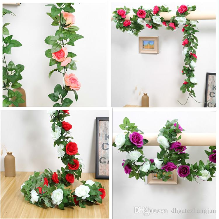 2 4m Artificial Flower Vine Fake Silk Rose Ivy Flower For Wedding Decoration Artificial Vines Hanging Garland Home Decor Wedding Decoration Catalogs Wedding Decoration Ideas For Tables From Dhgatezhangjun 1 51 Dhgate Com