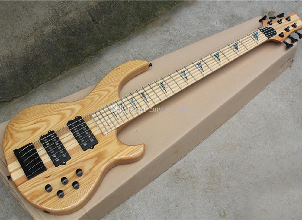 Siyah Donanım ile 6 Strings Doğal Elektrik Bas, Abalone Inlay ile Maple Klavye, Talep gibi Özelleştirilmiş edilebilir