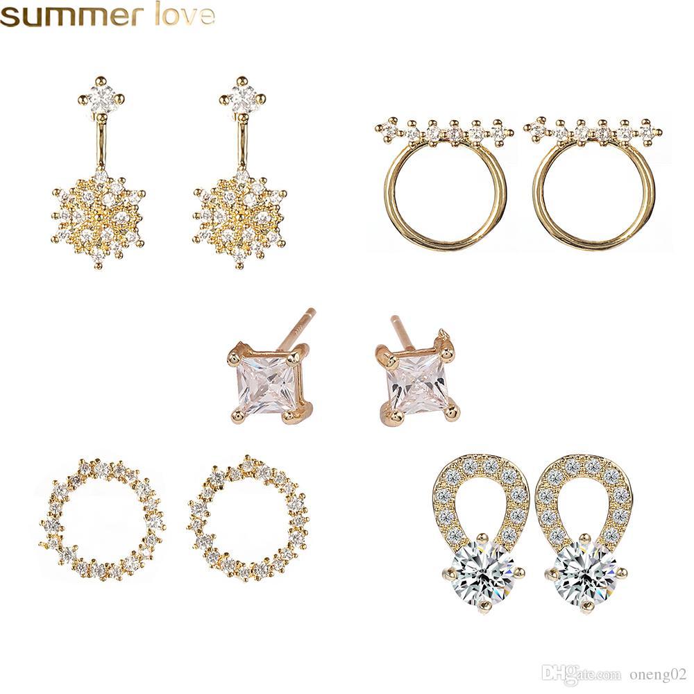 العلامة التجارية الجديدة تصميم الزركون أقراط لل مجوهرات الزفاف الساطع 925 فضة إبرة هندسية دائرة القرط للفتيات النساء