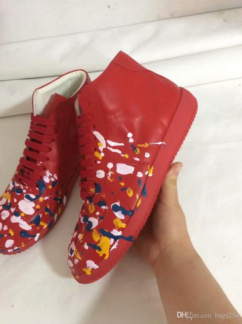 calzados informales de la alta calidad de impresión colorida del top del alto de la zapatilla de deporte zapatos de hombre de los hombres planos de zapatos que caminan formadores de Kanye West