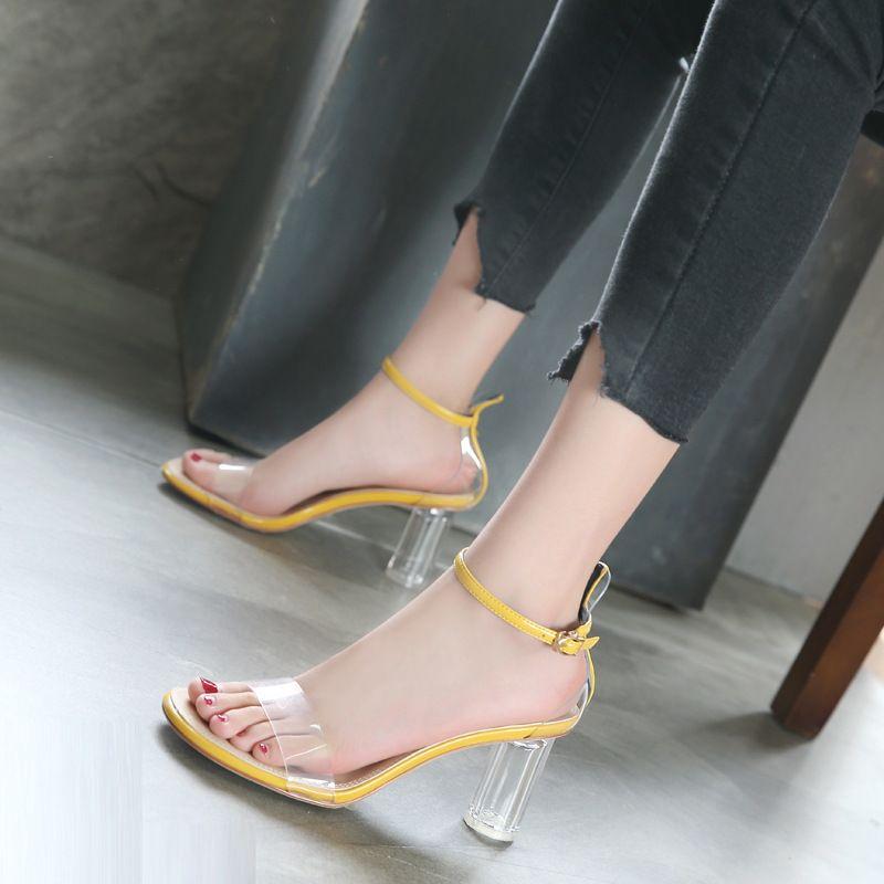 Lucky2019 chaussures à talons hauts tempérament cercle de cristal haute avec transparent un mot apporter sandales femme