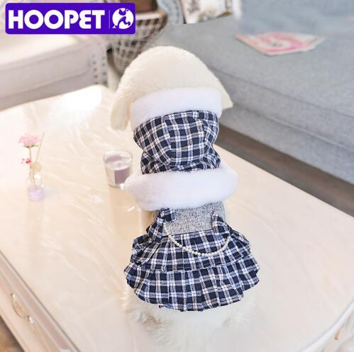HOOPET Pet Dog Hooded Clothes Thicker Cloak Dress Winter Pearl Plaid Dresses Small Dog Cat Cute Hoodies Chihuahua Thick Boutique Clothing