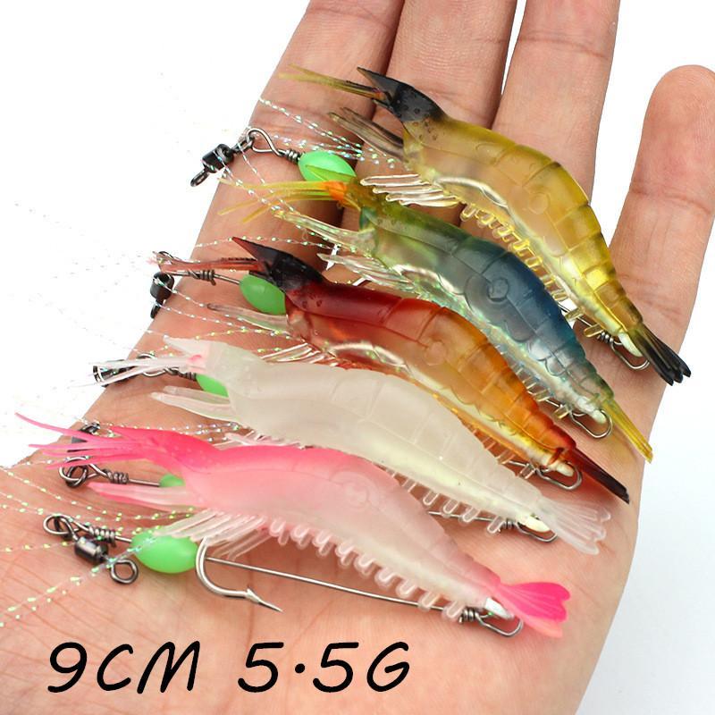 5 Color 9 cm 5.5g Luminoso Camarón Gancho de Pesca Ganchos Anzuelos Cebos Suaves  Señuelos de Pesca Aparejos de Pesca LL-020