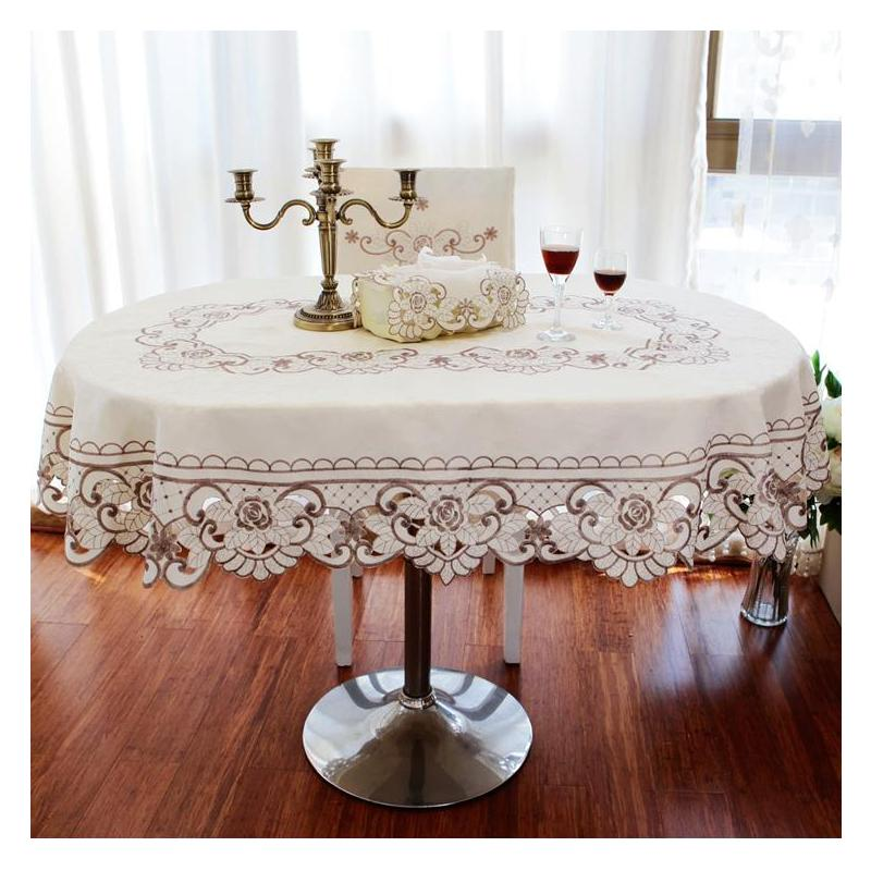 Table Cloth Cover Home Tablecloth Oval Embroidered Plastic Lace Pattern Protect