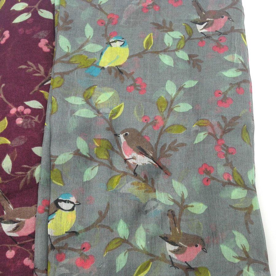 2020 mujeres Patrón viscosa bufanda animal encantador de aves en los árboles mantón de la impresión gasa Wrap recién nacido bufandas Otoño Invierno Hijab sjaal