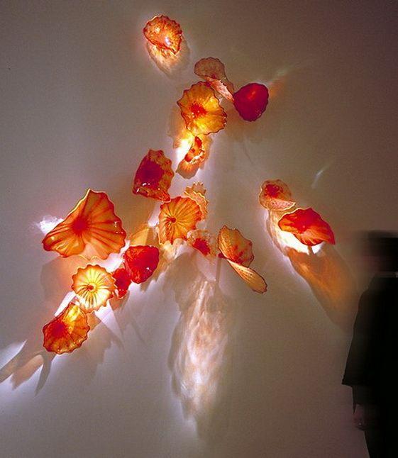 Горячая продажа 100% ручной работы современная ручная выдувная стеклянная настенная пластина муранское стекло стиль Чихули художественная пластина