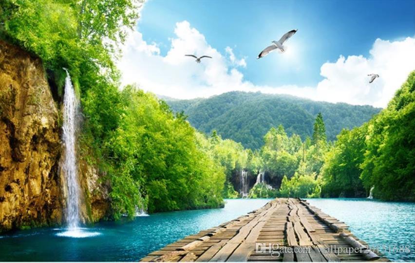 moderna sala de estar wallpapers paisagem cachoeira ponte de madeira 3D pintura fundo da parede de fundo da paisagem