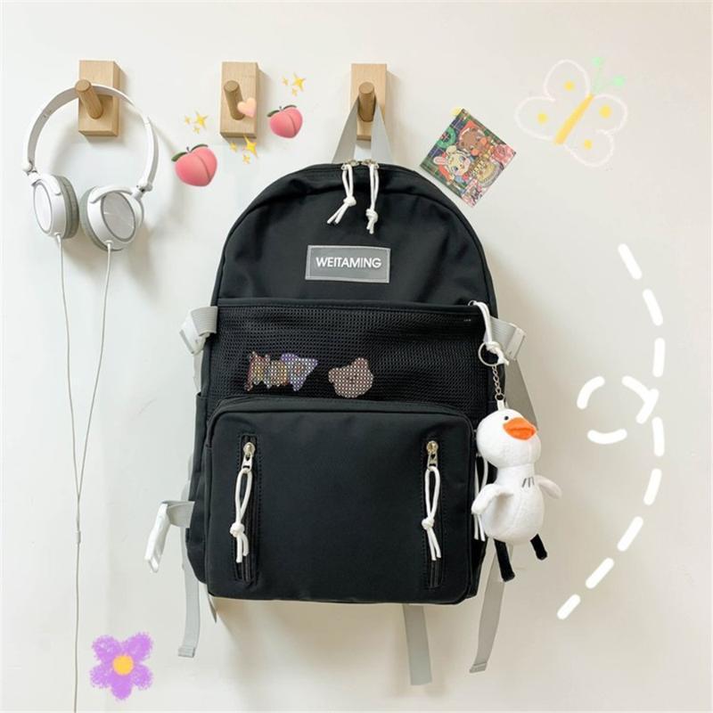 Mulheres Mochila grande capacidade Casual impermeáveis Pure sacos de cor Adolescente menina da escola dos desenhos animados bonito Feminino Bagpack Malas de Viagem