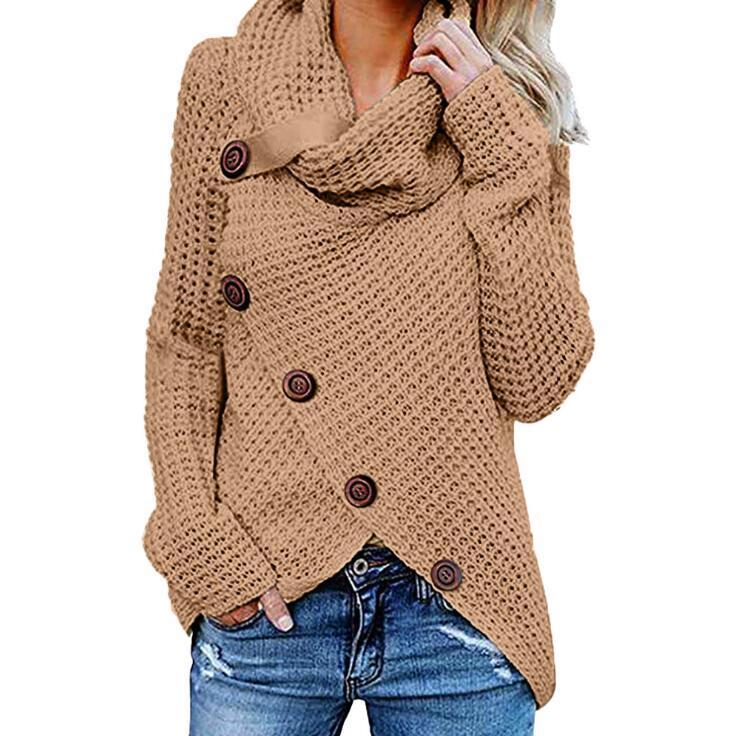 Mulheres Botão camisola de malha Casual lã Turtle Gola subida Crocheted Enrole pulôver Chunky Quente Xmas Outwear FYZ303 Brasão