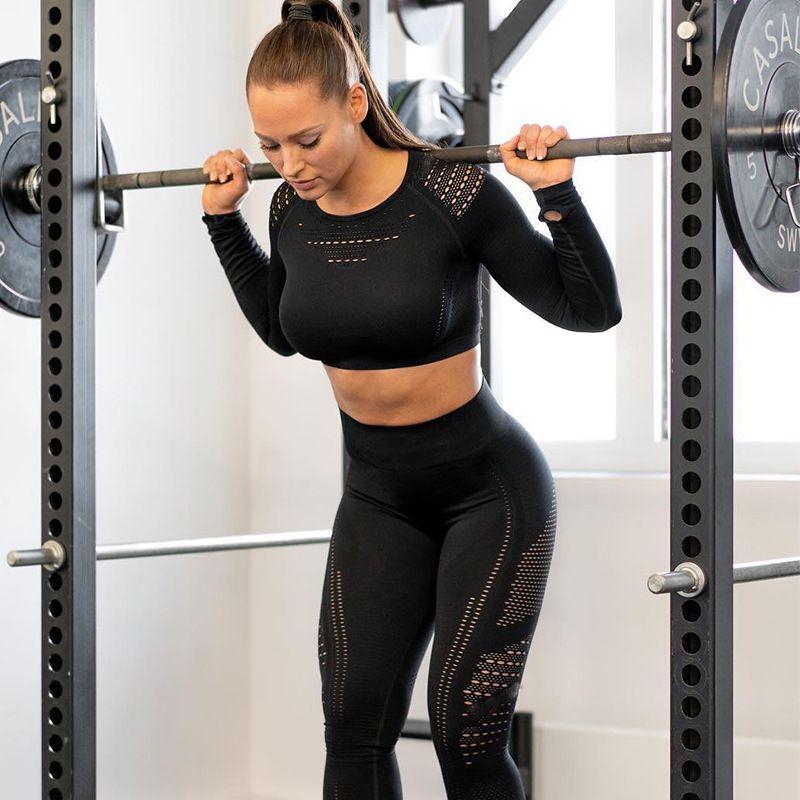 Donne senza saldatura Gym Set vita alta Palestra Mesh Leggings Camicie maniche lunghe Suit ALLENAMENTO correnti di sport Sottile Sport Imposta Y200110