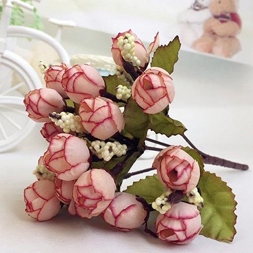Dolce artificiale Rosebud Bouquet casa Cloth Wedding Rose 15 Fiori su 1 Pezzo