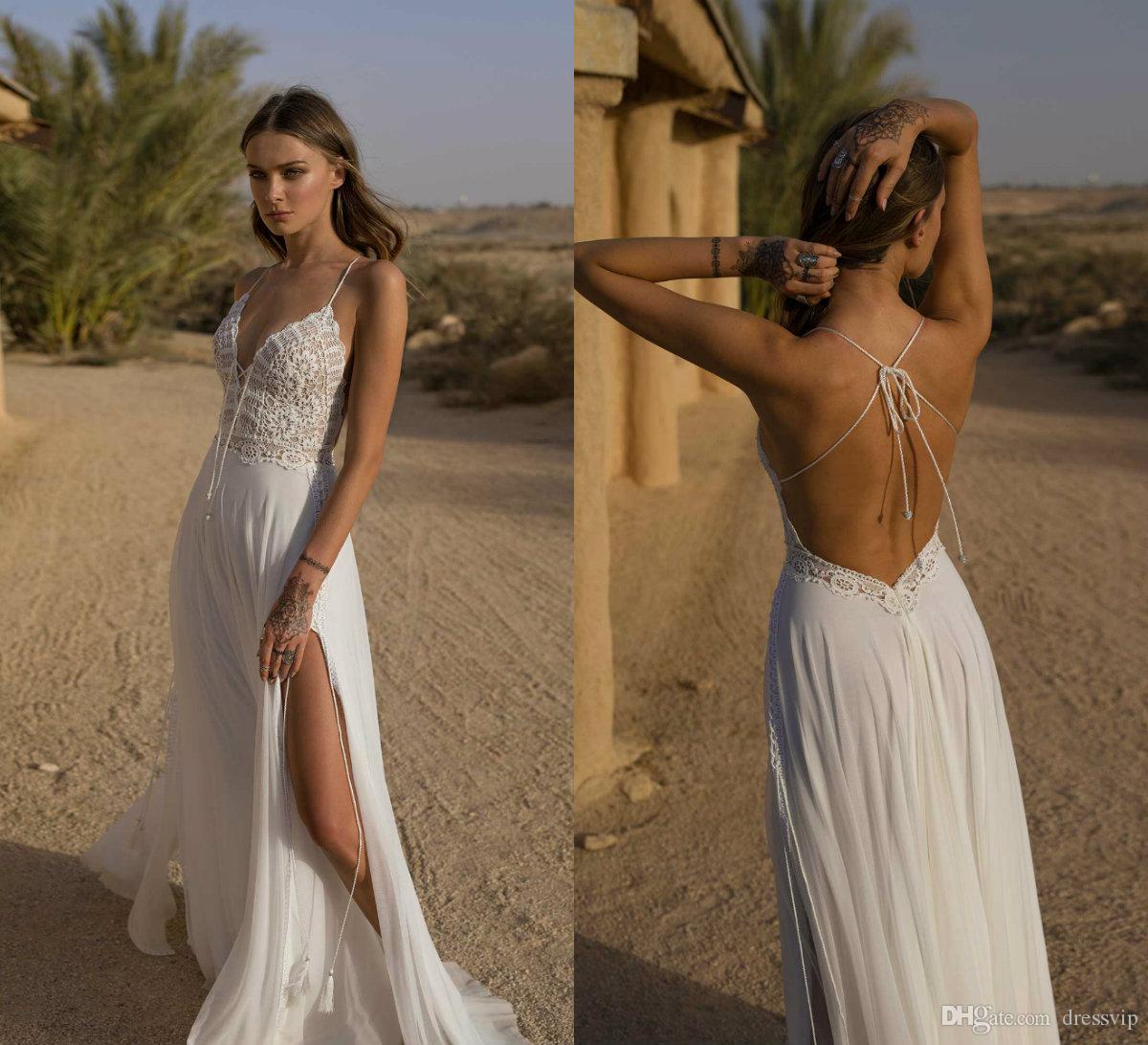 2019 Asaf Dadush vestidos de novia de espagueti de Bohemia de la gasa del cordón de la longitud del piso vestido de novia de verano de la playa barato vestidos de novia sin espalda del traje