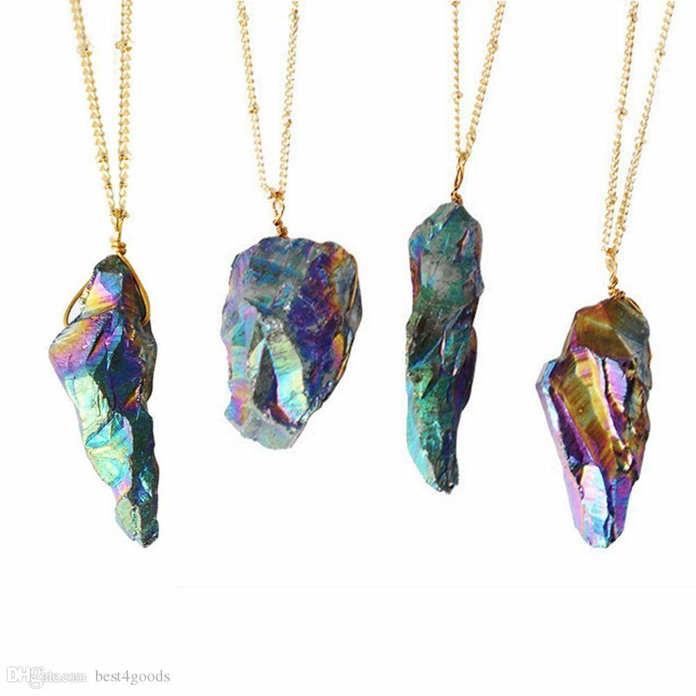 Neue natürliche Kristallquarz-Punkt-Gold überzogenes Healing Quarz-Halskette Edelstein-Halskette Bunter Naturstein Halskette Schmuck