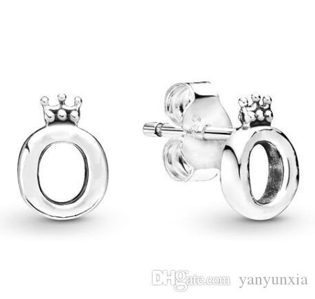 الأصلي 925 حلق فضة مصقول ولي O القرط الأزرار للمجوهرات هدية المرأة الزفاف الأزياء
