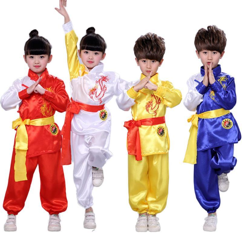 Satin Dragon Embroidery Tang Suit Hanfu for Kids Boys Girls Exercise Kungfu Wushu Uniform Chinese Dance Performance Clothing Set