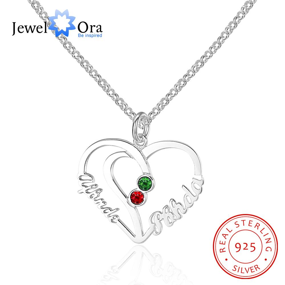 a266XDKSJK Personalized Love Pendant Heart Necklace with Birthstone,Customized Name Triple Heart Necklace,Gift for Women