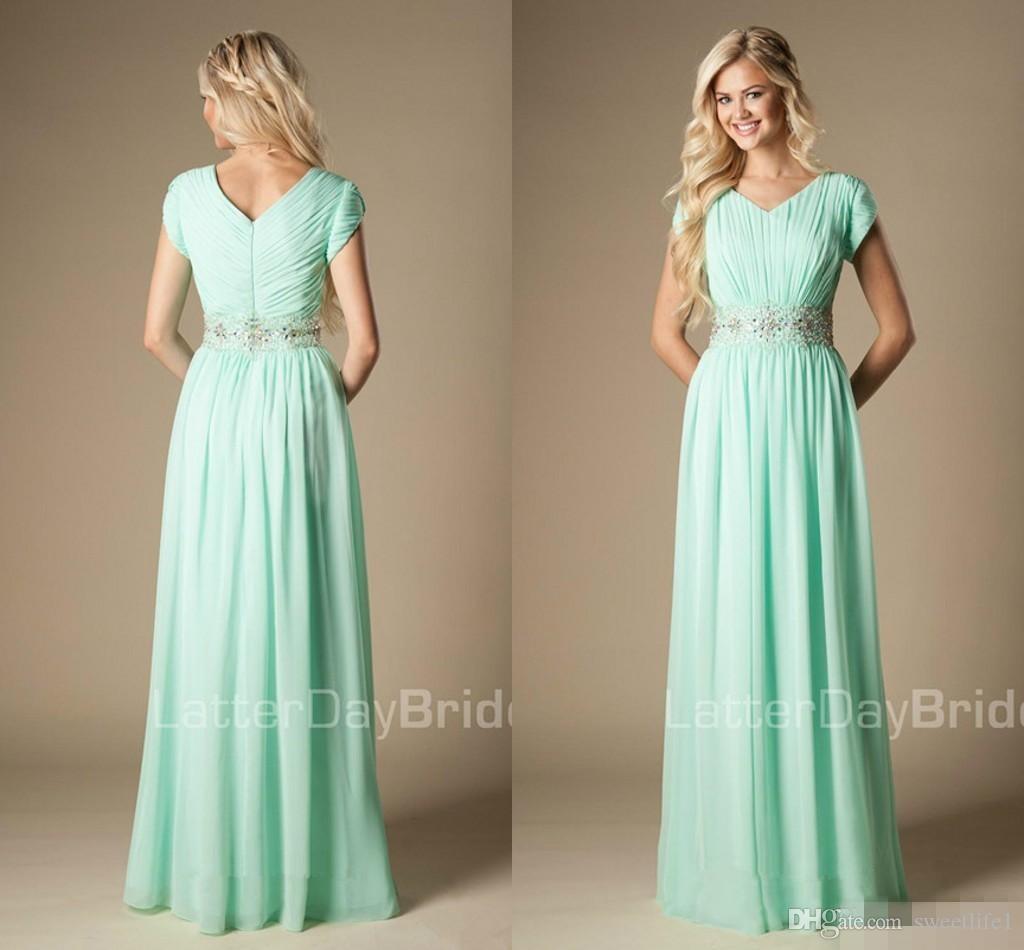 Frisado Mint Green Dress dama de honra Modest A-Line Chiffon Maid Formal de honra vestido de Convidados do casamento Vestido Custom Made Plus Size