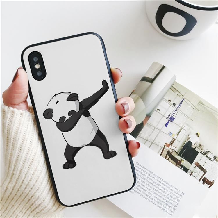 Coque Luxury Cartoon Animal Panda Dab Cover for iPhone 11 Pro Xs Max Xr Case for iPhone 8 7 6s Plus 5S SE Case Soft Silicone Cover.