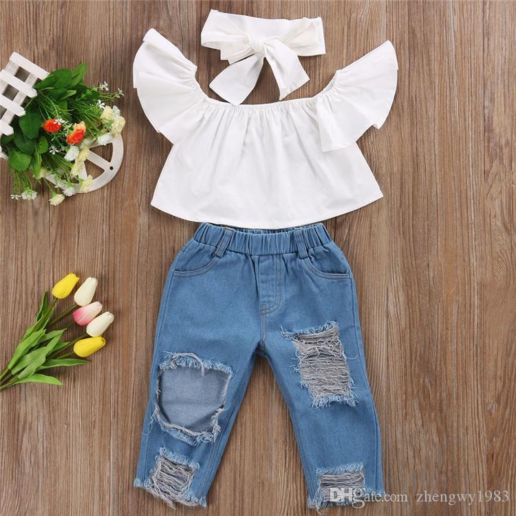 Verão Bebé Crianças Roupas Set Flying Manga Branco Top + Jeans Rasgado Calças Denim + Arcos Headband 3 Pcs Sets Kids Designer Roupas Meninas JY352