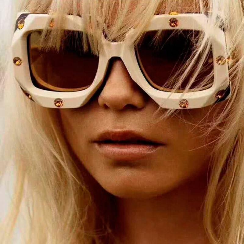 2019 retro donne del nuovo di modo dell'occhio di gatto occhiali da sole di marca dell'annata di Piazza Designe diamante G Occhiali da sole femminile oversize Shades