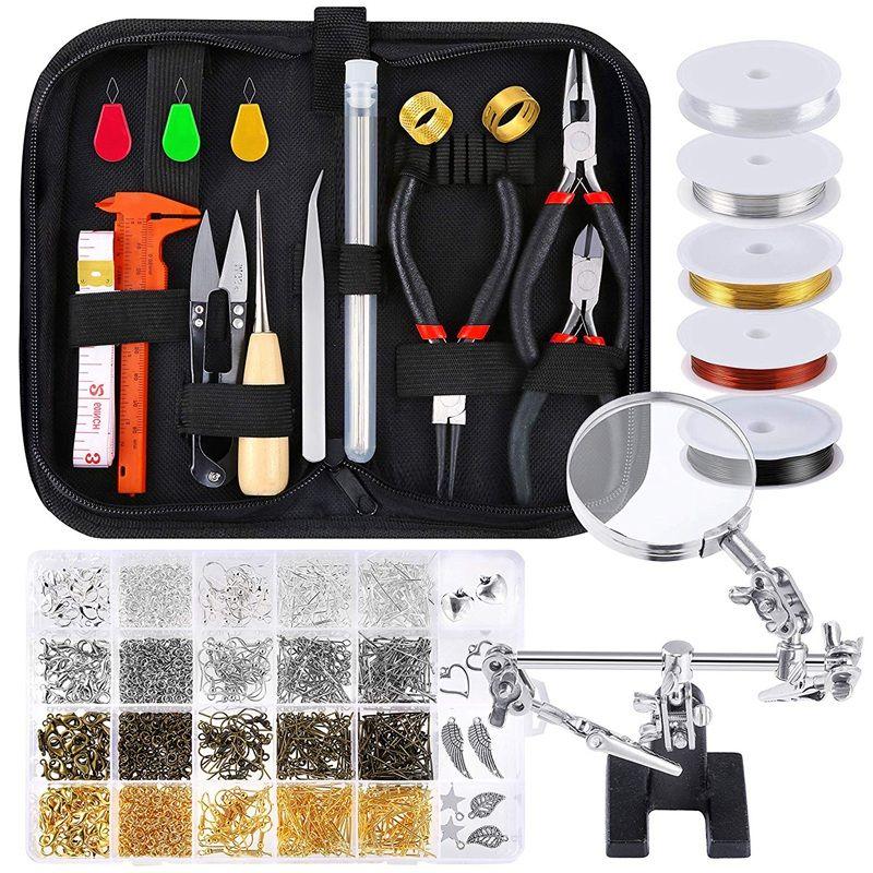 Изготовление ювелирных изделий Supplies Штамповых Kit с Бисероплетение инструментами, провод, руки помощь, выводы и подвески